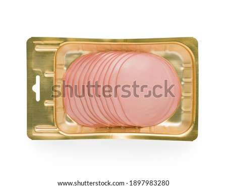 sliced boiled sausage in golden vacuum packaging isolated on white background. Royalty-Free Stock Photo #1897983280