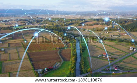 Agriculture and technology. Agritech. Environment. Communication network. Royalty-Free Stock Photo #1898110876
