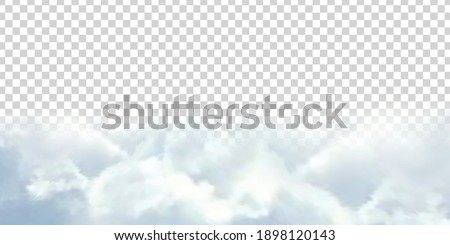 Vector realistic isolated cloud sky for template decoration and covering on the transparent background. Concept of storm and cloudscape. Royalty-Free Stock Photo #1898120143