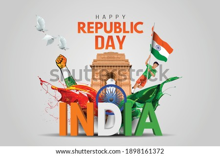 Indian republic Day celebrations with 26th January india 3d text and Ashoka Wheel, try color hand, man running with indian flag, india gate. vector illustration design Royalty-Free Stock Photo #1898161372