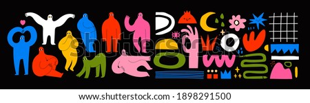 Set of Hand drawn various Shapes and Doodle objects and People silhouettes. Abstract contemporary modern trendy Vector illustrations. Colorful palette. All elements are isolated Royalty-Free Stock Photo #1898291500