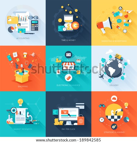 Vector collection of flat and colorful business and finance concepts with long shadow. Design elements for web and mobile applications. Royalty-Free Stock Photo #189842585