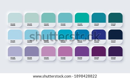 Pantone Colour Guide Palette Catalog Samples Blue and Purple in RGB HEX. Neomorphism Vector Royalty-Free Stock Photo #1898428822