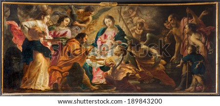 ANTWERP, BELGIUM - SEPTEMBER 4, 2013: Nativity scene by Cornelis Schut (1597 - 1655) in side chapel of baroque church Saint Charles Borromeo. #189843200
