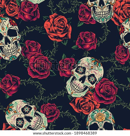 Colorful tattoos vintage seamless pattern with blooming roses sugar skulls and elegant green stem of barbed wire texture vector illustration