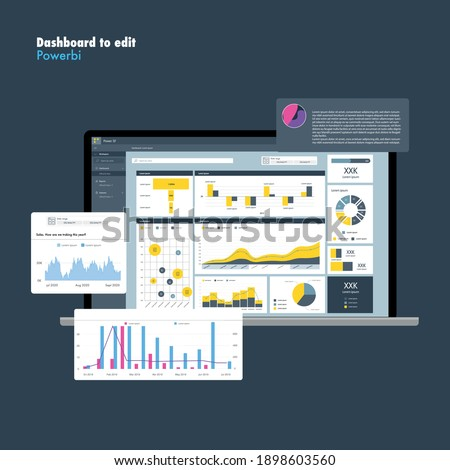 Dashboard application. Power bi.Information design. Graphs and charts. EPS10 Royalty-Free Stock Photo #1898603560