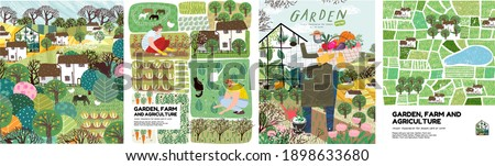 Garden, farm and agriculture. Vector illustration of gardener, garden beds, fields, maps, houses, nature, greenhouse and harvest. Drawings for poster, background or postcard  Royalty-Free Stock Photo #1898633680