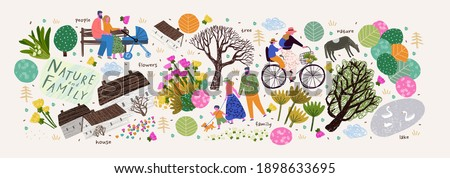 Nature, family and people. Vector illustration of a house, lake, village, tree and flowers. Drawings and objects for poster, background or pattern Royalty-Free Stock Photo #1898633695