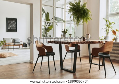 Stylish and botany interior of dining room with design craft wooden table, chairs, furniture, a lof of plants, window, poster map and elegant accessories in modern home decor. Template. Royalty-Free Stock Photo #1899080734