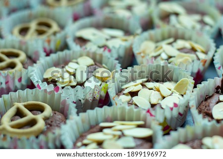 Closeup selective focus pictures food or cake, brownies chocolate flavor, delicious sweet is dessert homemade cooking.