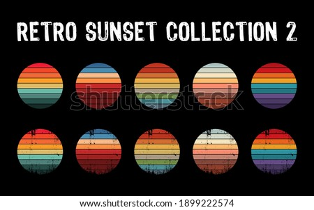 Vintage sunset collection in 70s 80s style. Regular and distressed retro sunset set. Five options with textured versions. Circular gradient background. T shirt design element. Vector illustration,flat