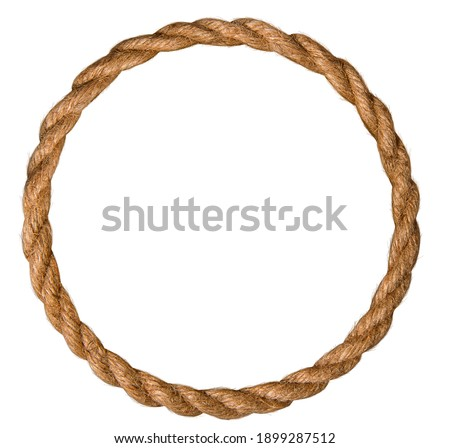 frame made of natural rough rope rolled into an endless ring on a white background Royalty-Free Stock Photo #1899287512