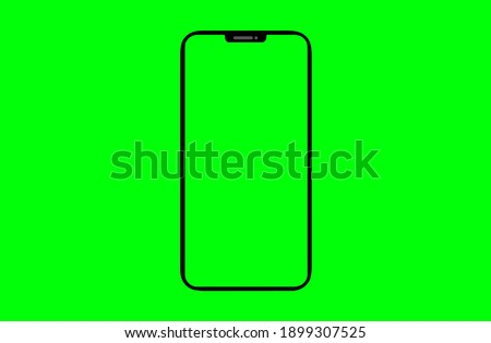 The shape of a modern mobile smartphone Designed to have a thin edge. green screen background - Clipping Path.