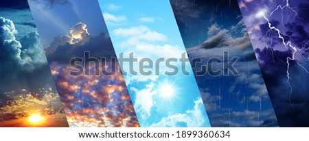 Photos of sky during different weather, collage. Banner design Royalty-Free Stock Photo #1899360634