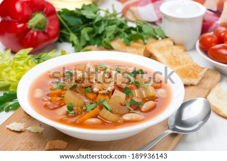 minestrone with vegetables, beans and croutons, horizontal #189936143
