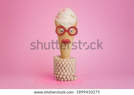 food photography of ice cream waffle cone front view decorated like a strict female teacher on pink background isoated close up