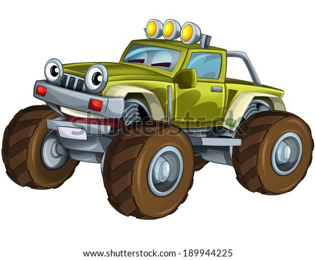 Cartoon car - off road vehicle - illustration for the children