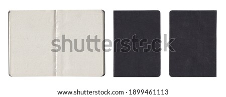 Old Black Gray Shabby Notebook Notepad Book Booklet. Back Front Inside. Paper Texture Isolated on White Royalty-Free Stock Photo #1899461113