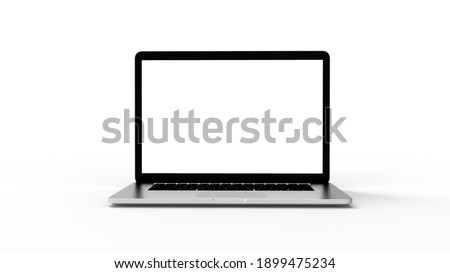 Modern laptop  isolated on white background with clipping path. 3D Illustration.