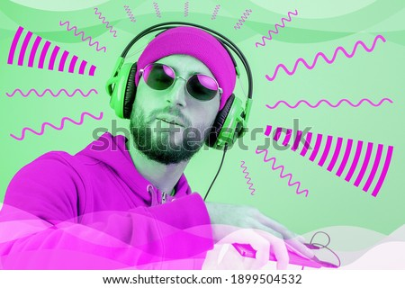 Funky bearded hipster DJ in headphone and sunglasses. Listening streaming music in smartphone player app. Pop art style collage. Contemporary art poster. Rave music nightclub party.3D rendering.3D Royalty-Free Stock Photo #1899504532