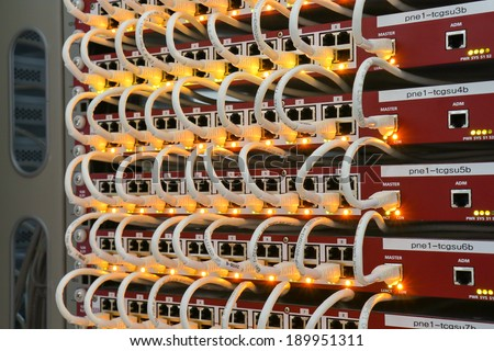 Local area network switch and un twice pair Ethernet cables #189951311