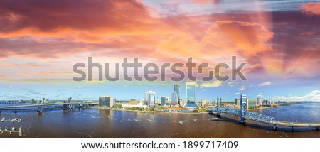 Panoramic sunset aerial view of Jacksonville, Florida.