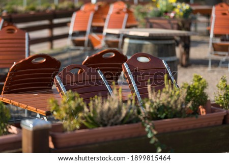 Tables and chairs from a beer garden