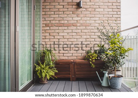 Morden residential balcony garden with bricks wall, wooden bench and plants. Royalty-Free Stock Photo #1899870634
