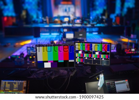 online broadcast of the event.TV studio Royalty-Free Stock Photo #1900097425