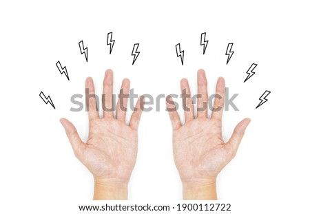 Tingling and numbness in hands of Asian young man with diabetes. Finger sensation problems. Hand nerves problems. Isolated on white.