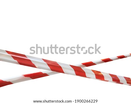 Red and white lines of barrier cross tape prohibit passage. Barrier tape on white isolate. Barrier that prohibits traffic. Danger unsafe area warning tape do not enter. Concept no entry. Copy space Royalty-Free Stock Photo #1900266229