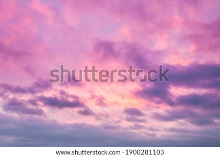 Sunrise clouds skyscape soft pink and purple tones. Majestic summer day cloudy weather. Romantic atmosphere of trendy background illustration desigh in warm pattern. Lovely rose sky panorama shot Royalty-Free Stock Photo #1900281103