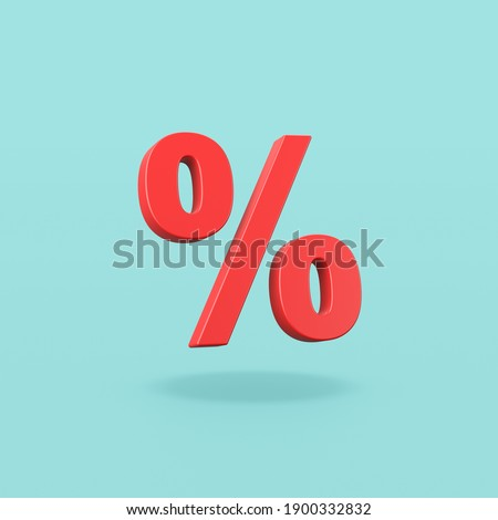 Red Percent Sign on Flat Blue Background with Shadow 3D Illustration