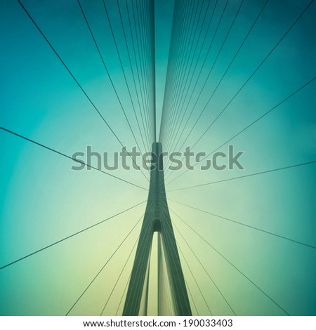 Cables and supports of bridge in china against blue sky #190033403
