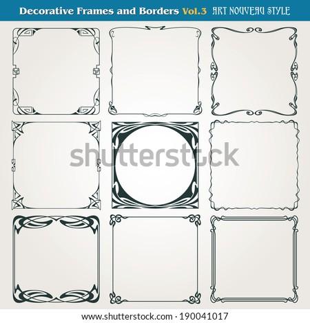 Decorative vintage borders and frames Art Nouveau style vector #190041017