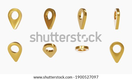 gold pin, location map pointer set on white background, marker symbols, Set with clipping path. gps concept, 3D illustration.