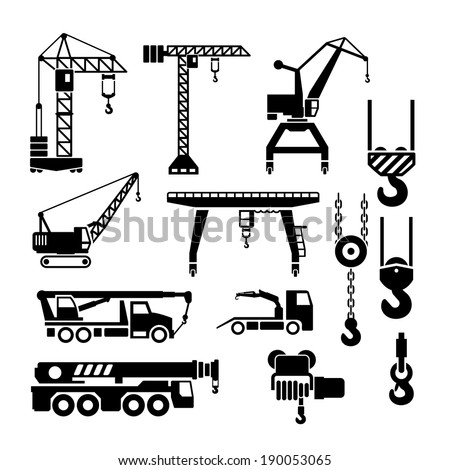 Set icons of crane, lifts and winches isolated on white. Vector illustration Royalty-Free Stock Photo #190053065