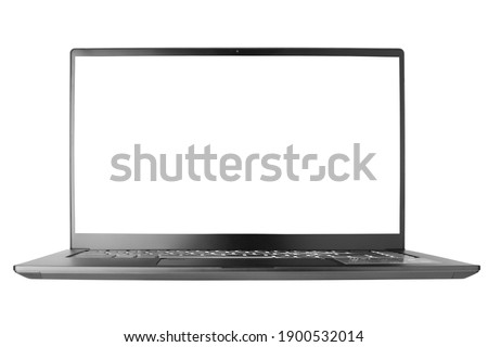 Laptop with blank screen on white background isolated close up front view, modern slim computer design, open empty display, pc mockup, studio shot, copy space Royalty-Free Stock Photo #1900532014