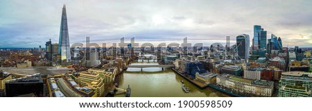 Aerial view of the City of London, the historic centre and the primary central business district, UK Royalty-Free Stock Photo #1900598509
