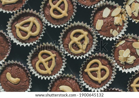 Flat lay pictures food or cake, brownies chocolate flavor, delicious sweet is dessert homemade cooking.