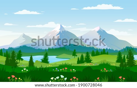 Panoramic views of large mountains, beautiful meadows with flowers. Flat cartoon landscape with nature. Vector illustration. Royalty-Free Stock Photo #1900728046
