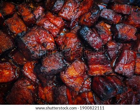 Pork Belly Burnt Ends Meat Candy Royalty-Free Stock Photo #1900822111