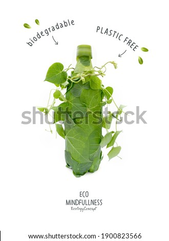 Plastic free. Biodegradable bottle, made with green sprout and leaves. Ecological poster. Say NO to plastic. Ban plastic pollution. Zero waste and Sustainable lifestyle. Think Green.