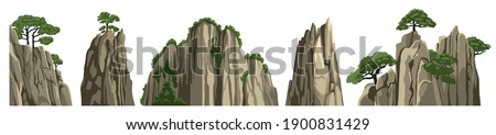 Mountains, rocks, hills, stones. Vector elements of asian chinese landscape, isolated on white background. Cartoon illustration. Royalty-Free Stock Photo #1900831429