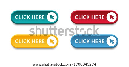 Click here button with arrow pointer clicking icon. Click here vector web button. Web button with action of arrow pointer. Click here, UI button concept. Vector illustration Royalty-Free Stock Photo #1900843294