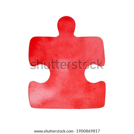 Watercolor painting of bright red jigsaw puzzle. Symbol of fun, brain teaser, obstacles, complexities. Hand drawn watercolour grungy illustration, isolated clip art detail for design, emblem, label.
