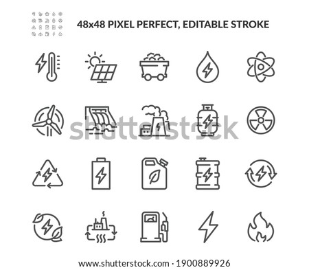 Simple Set of Energy Types Related Vector Line Icons. Contains such Icons as Hydroelectric Power Station, Solar Cells, Fossil Fuels and more. Editable Stroke. 48x48 Pixel Perfect. Royalty-Free Stock Photo #1900889926