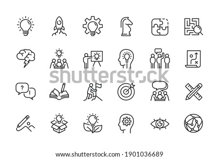 Creative business solutions related icon set. Innovation team management. Editable stroke. Pixel Perfect at 64x64 Royalty-Free Stock Photo #1901036689