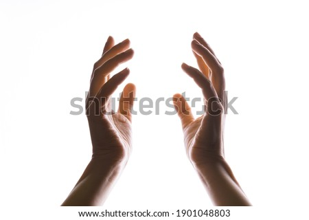 Hands make magic, or pray that the light falls from above on hand. Radiance between the palms. Gestures, isolated on white, contour lighting, contrast. Royalty-Free Stock Photo #1901048803