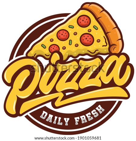 Pizza Daily Fresh Vector Emblem on blackboard. Pizza logo template. Vector emblem for cafe, restaurant or food delivery service.